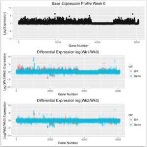 Red genes have 90% posterior probability of up or down regulation relative to week 0 controls